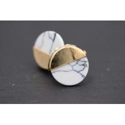 Marmor Ohrstecker Gold - Kreis
