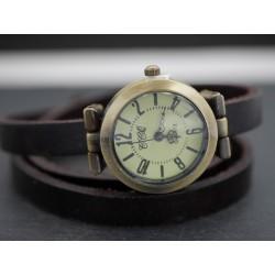 Wickel-Armbanduhr Leder Brauen