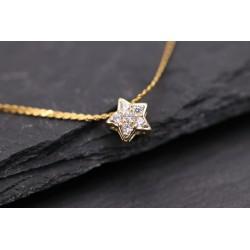 Halskette mit kleinem Strass Stern - gold