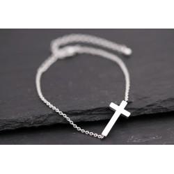 Armband mit Kreuz - silber