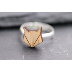 Ring mit Holz Fuchs Kopf Grafik