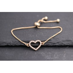 Armband mit Strass Herz Symbol - gold
