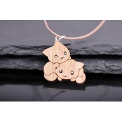 Leder Halskette mit Katzen aus Holz - handbemalt