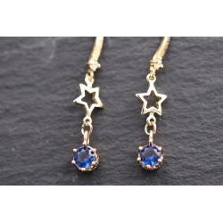 Stern Ohrringe mit blauem Strass Anhänger - gold