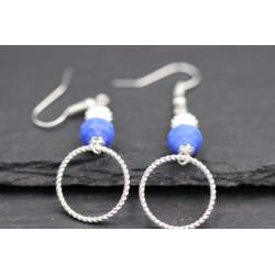 Kreis Ohrringe mit Perlen - silber blau