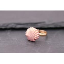 Ring mit Muschel - rosa - gold - verstellbar