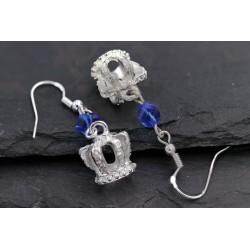 Silber Ohrringe Krone mit...