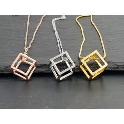 Halskette 3D Quadrat  - Würfel - 3 Farben Cubus Viereck
