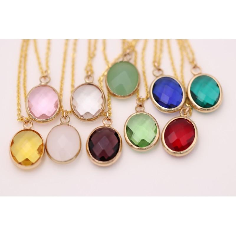 Kristallglas Halsketten Verschiedene Farben - gold Strass Zirkonia