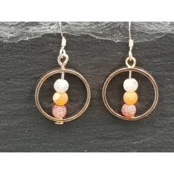Schöne Perlen im Ring Anhänger - Ohrringe - Roségold