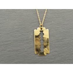 Rasierklingen Anhänger - Halskette, Messing vergoldet - Herrenschmuck