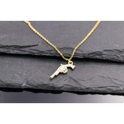 Waffe Anhänger als Halskette vergoldet