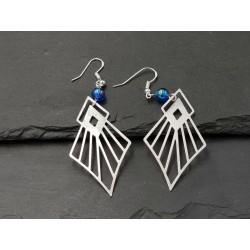 """Ohrhänger """"African Style"""" Silber mit einer blaue Perle Anhänger"""