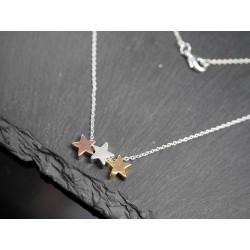 Halskette mit Sternen - Stars - Himmel - rosegold gold silber H751