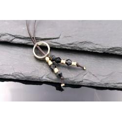 Lederkette Ring Anhänger mit Perlen Schwarz und gold