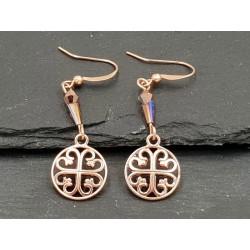 Ohrringe Ornament mit Perlen  in Rosegold Anhänger