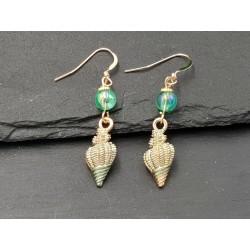 Ohrringe Schneckenhaus goldfilled Wasserschnecke Muschel GF grün