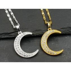 Halbmond Zirkonia Halskette gold oder silber Mond