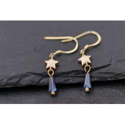 Ohrringe Sterne gold mit blauen Glaskristall Anhänger