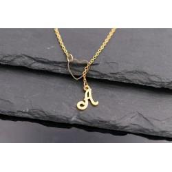 Edelstahl Buchstaben Halskette mit Herz, gold
