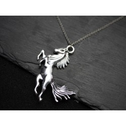 Halskette mit Pferd springt Anhänger - Silber