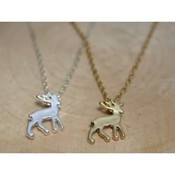 Halskette mit Hirsch-Anhänger silber oder gold Reh Geweih