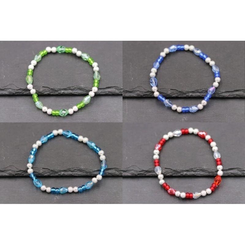 Perlenarmband, elastisch Rot , Grün , Blau , Hellblau - Silber -