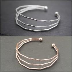 Armreif - Modern - 3 fach - größenverstellbar - Silber & Roségold