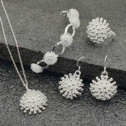 Silberblüten Schmuckset Halskette, Ohrringe, Armband und Ring 6teilig