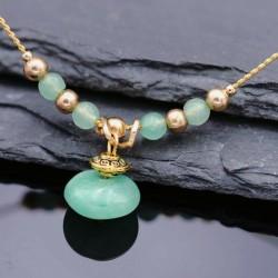 Jade Halskette Unikat Messing vergoldet 45cm Tibet handgefertigt antiklook grün Calzedon