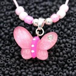 Kinderschmuck Schmetterling Halsband Anhänger Perlen Strass Magnetverschluss