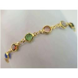 Kristall Armband gold Connector bunt Zirkonia Kette Grössenverstellbar türkis,