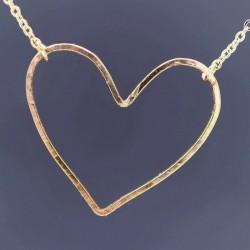 Herz Unikat Anhänger mit vergoldeter Goldfilled Ankerkette handgefertigt 45cm