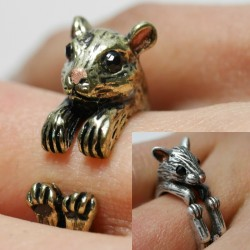Motiv-Ring: Ratte Hamster Nagetier Grössenverstellbar Bronze oder. Antiksilber