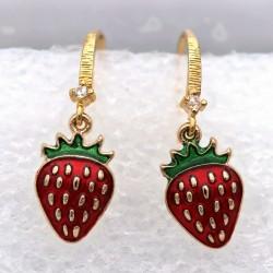 Erdbeer Ohrringe Paar gold Emaille Ohrhänger Strass rot grün Frucht Obst Sommer