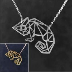 Chamäleon-Anhänger Halskette GF vergoldet Edelstahl 45cm Tiermotiv Eidechse