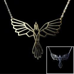 Geometrischer Vogel Anhänger Halskette GF goldfilled + Edelstahl 45cm Greif