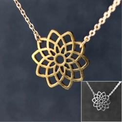 Vergoldeter Mandala-Anhänger mit feiner Goldfilled Halskette 45cm