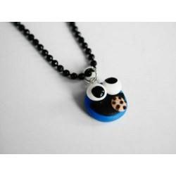 Halskette Krümelmonster Cookie Monster Fimo Schmuck Anhänger SchwarzBlau