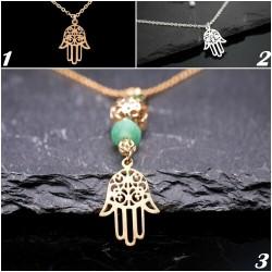 Halskette mit Hamsa Hand-Glasperle-Glück-Schutzengel-Symbol-orientalisch-gold -silber