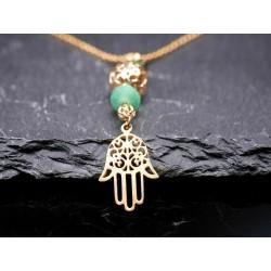 Halskette mit Hamsa Hand-Glasperle-Glück-Schutzengel-Symbol-orientalisch-gold
