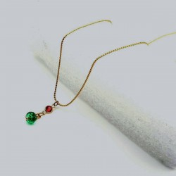 Strass Kristall feine Halsketten grün-gold-rot Zopfkette Zikonia 45cm Schmuck