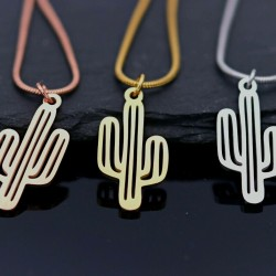 Edelstahl Halskette Kaktus Anhänger Kakteen Schlangen gold, silber, roségold
