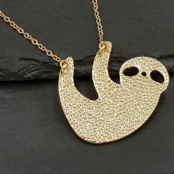 Halskette Faultier Anhänger - gold