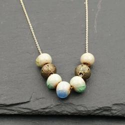 Halsketten mit blau/gold Tibetperlen Antiklook