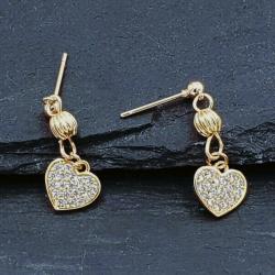 Ohrstecker Gold Herz mit Kristall