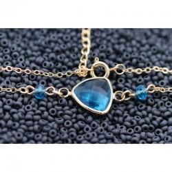 Kristall Armband GF vergoldet blau Perlen Connector GRÖSSENVERSTELLBAR