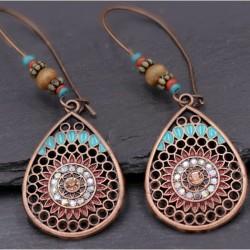 Creolen Boho Muster antik  Tropfen Kupfer Perlen hellblau