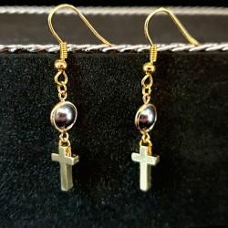 Ohrringe mit kleinem Kreuz - gold Christi Religion Kirche Glaube Schmuck