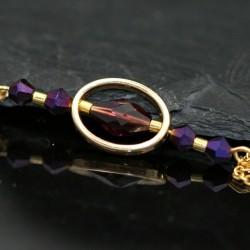Halskette mit Design Strass Graphit Kreis goldfarben blau lila